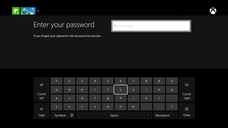 xbox one how to change password