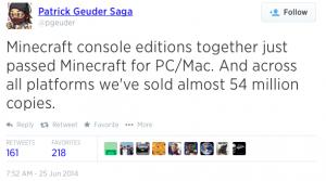 Patrick Geuder's tweet about Minecraft console sales.
