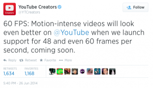 YouTube Creators 60 FPS Tweet